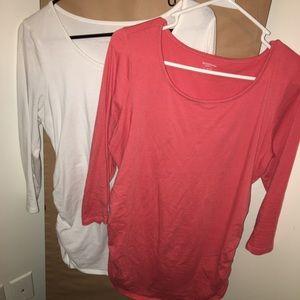 2 maternity 3/4 sleeve tops